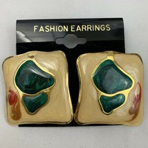 Vintage Funky Enamel Earrings Square Mottled Pattern Green 80s 90s Gold ... - $14.80