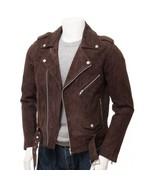 Men's New Brown Suede Biker Motorcycle Jacket, Handmade Fashion Mens Jac... - $169.99