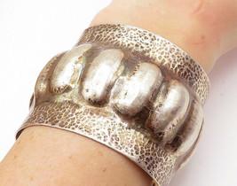 925 Sterling Silver - Vintage Hammered Modernist Wide Cuff Bracelet - B7207 - $182.38