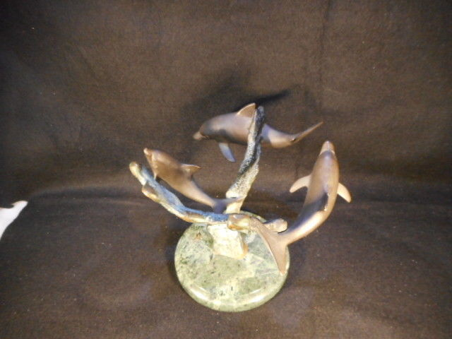 SPI San Pacific Int'l BRONZE 3 Dolphins Swimming in a Circle NICE!!!!