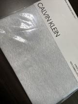 Calvin Klein QUEEN Sheet Set Cotton Sateen Gray Blue White Waves Lines  ... - $78.21