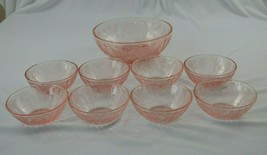 Jeannette Glass Pink Poinsettia Berry Bowl Set of 9 - $64.35