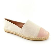 New TORY BURCH Size 8.5 Linen Canvas Pink Logo Cap Toe Espadrilles Flats Shoes - $149.00