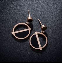 Semicircle Hollow Female Long Ear Stud Round Earring Korean Fashion Jewelry - $16.80