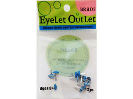 Eyelet Outlet Blue Bubble Brads, 12 Pieces