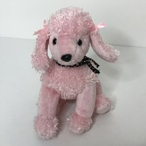 TY Brigitte Pink Poodle Beanie Plush Stuffed Animal 2001 Metallic Bow No... - $14.77