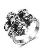 Halloween Hyperbole 7 Skulls Ring Real 925 Sterling Silver Finger - $169.99