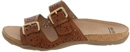 Earth Perforated Leather Slide Sandals-Sand Antigua Alpaca 8.5W NEW A349865 - $40.57