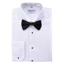 Berlioni Italy Men's White Tuxedo Dress Shirt Laydown Collar Bow-Tie  2XL image 1