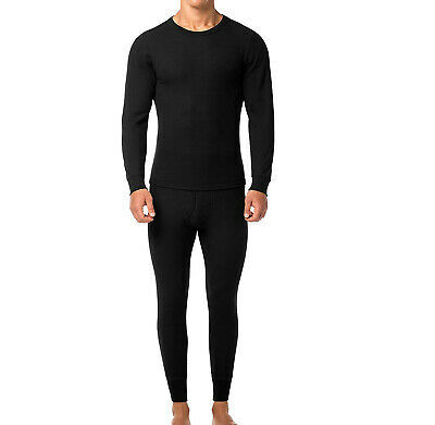 Men's Cotton Waffle Knit Thermal Underwear Stretch Shirt & Pants 2 pc Set  - S