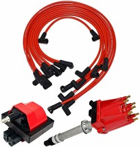 85 99 Chevy GMC TBI Distributor, 8mm Spark Plug Wires, E-Core Ignition Coil Set