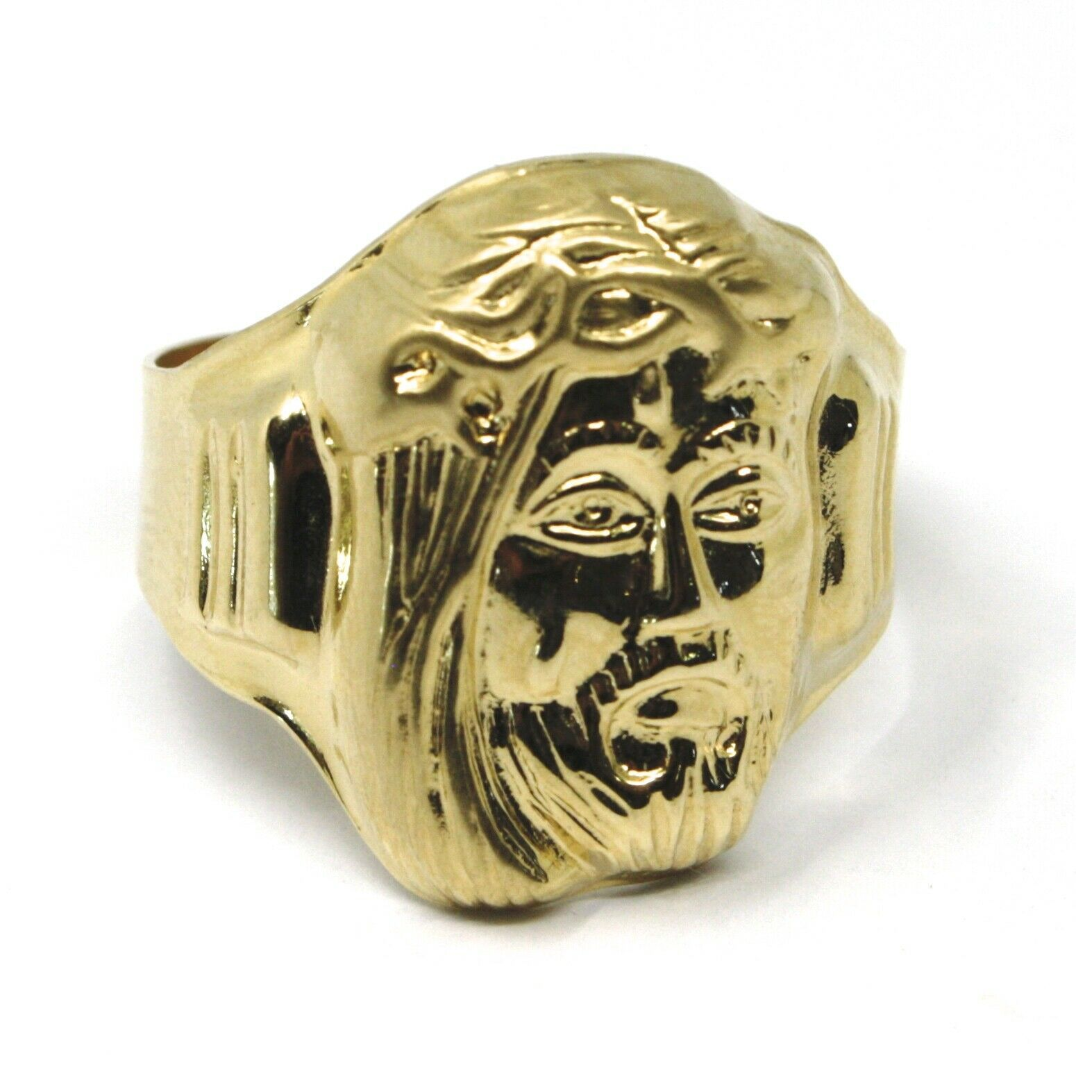 18K YELLOW GOLD BAND MAN RING, BIG JESUS FACE, MADE IN ITALY