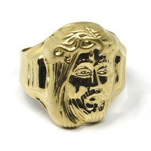18K YELLOW GOLD BAND MAN RING, BIG JESUS FACE, MADE IN ITALY image 1