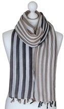 Grey Two Tone Stripes Scarf Large Spring Wrap Ladies Gifts for Her Siste... - $11.35