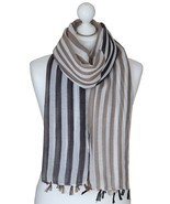 Grey Two Tone Stripes Scarf Large Spring Wrap Ladies Gifts for Her Siste... - $14.73 CAD