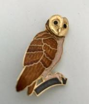 Goldtone & Brown Enamel Owl On Perch Figural Brooch Pin J0267 - $9.41