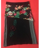 Unique Boho Floral Lightweight Sweater Skirt L XL Yarn Embroidered Multi... - $39.59