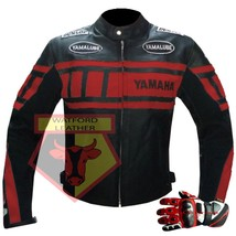 Yamaha 0120 Red Motorcycle Motorbike Cowhide Leather Jacket With Pair Of Gloves - $214.99