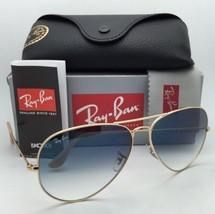 Ray-Ban Sunglasses RB 3025 Aviator Large Metal 001/3F 62-14 Gold w/ Blue Mirror