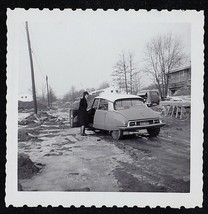Vintage Photograph Woman Standing By Open Door on Vintage Car / Automobile - $6.93