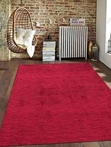 Rugsotic Carpets Hand Knotted Gabbeh Silk 5'x8' Area Rug Solid Dark Red ... - $150.45