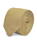 Frederick Thomas plain ivory knitted tie & pointed end in 8cm width FT2219a - $15.54