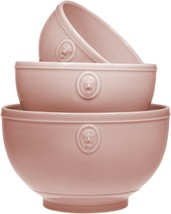 Set of 3 Earthenware Lions Head Pink  Mixing or Serving Bowls Home Essen... - $64.30