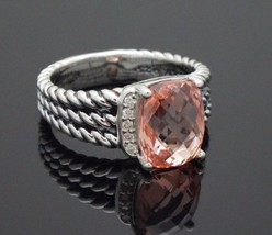 David Yurman Sterling Silver Petite Morganite Wheaton Ring Size 8 - $296.01