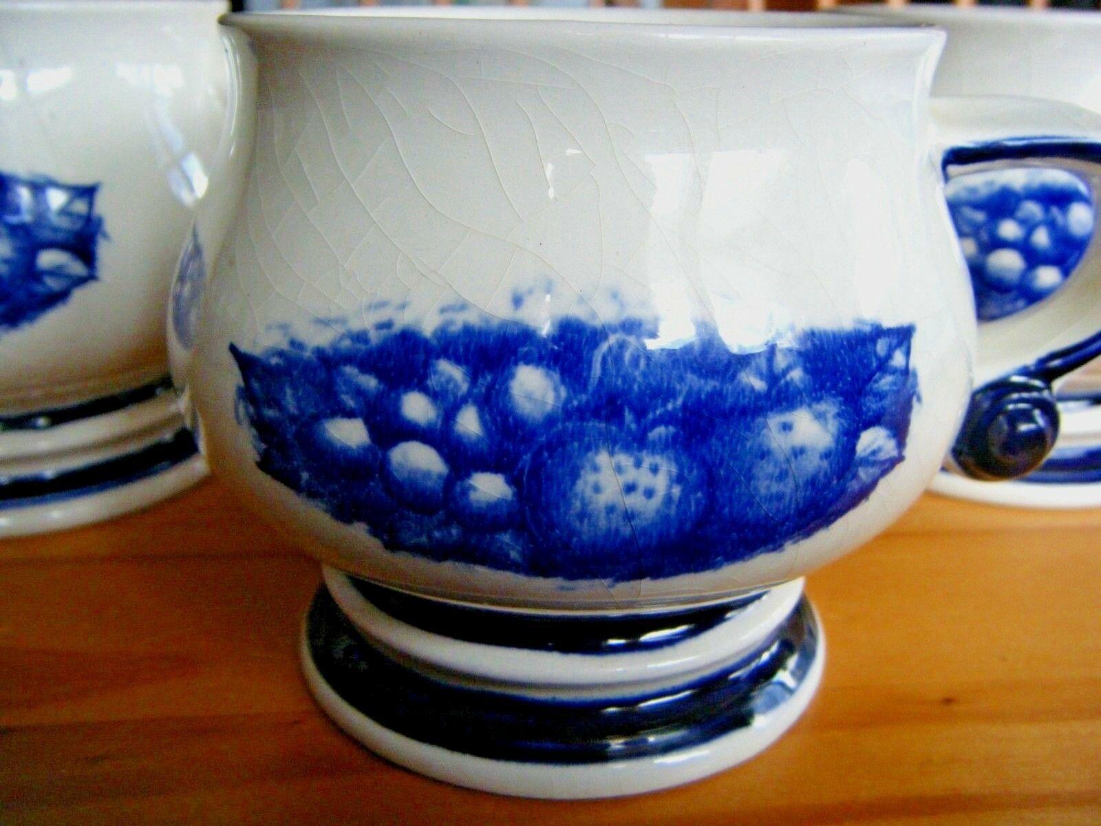 W Goebel Flow Blue Mugs Berries & Grapes West Germany Set of Three - $49.45