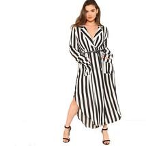 V Neck Waist Belted Plus Size Maxi Dress For Women Full Sleeve Split Side Design - $34.98