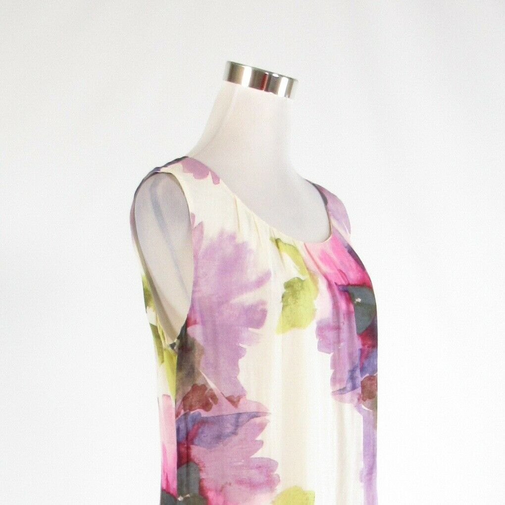 White purple floral print ANN TAYLOR LOFT sleeveless shift dress 10 image 4
