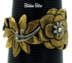 Bohemian Brass Floral Cuff Bracelet   Pewter and Rhinestone Accents   Boho Style - $28.00