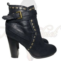 Qupid Women's Black Round Closed Toe Slip-On Studded Booties Sz Unknown - $25.00