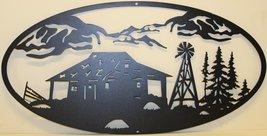 Cabin and Windmill Oval Scene Metal Wall Art Home Decor - $27.50+