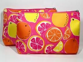 2pc Clinique Makeup Bags Lemon, Orange, Pink Grapefruit (lightly padded) - $7.98