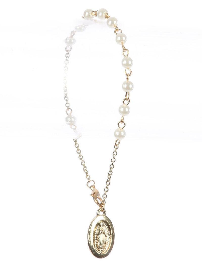 Saint Mary Beads Charm Prayer Bracelet Rosary Cream Beads GoldTone