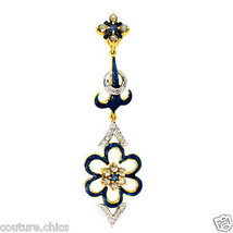 Sapphire Gemstone Solid 14k Gold Pave Diamond Long Pendant Enamel Floral... - $890.01