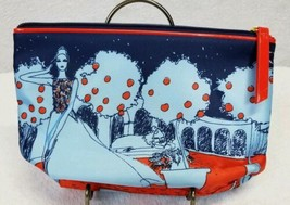 Estee Lauder Makeup Travel Toiletries Bag Woman Scenery Blue And Orange  - $16.60