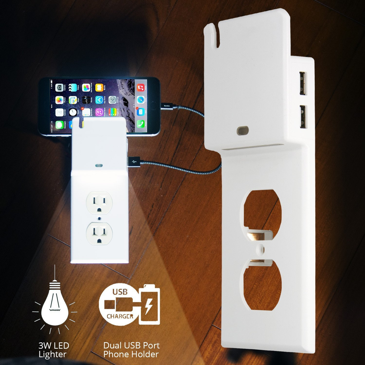 LUSTREON AC110-125V 15A Duplex Decor USB Nightlight Outlet Wall Plate Cover for