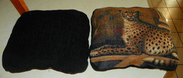 Pair of Black Leopard Print Decorative Throw Pillows  16 x 19 - $59.95