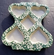 Roseville Ohio Friendship POTTERY USA Made HEART MUFFIN Green Spongeware... - $14.25