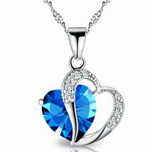 USA Fashion Jewelry Women Heart Crystal Rhinestone Silver Chain Pendant ... - $9.99