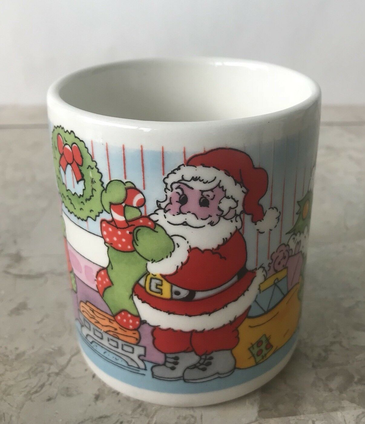 Primary image for Santa Claus Fireplace Filling Stockings Xmas Christmas Tree Coffee Tea Cup Mug
