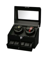 Diplomat Quad (4) Watch Winder w/ Storage for 4 Watches - Black Wood 31-425 - $257.39
