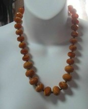 Vintage AVON Brownish/Orange Faceted Plastic Graduated Beads Necklace - $21.00