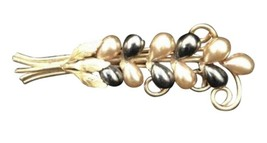 Vintage Gold Toned Costume Jewelry Brooch Pin Faux Pearl Floral Spray Black - $22.56