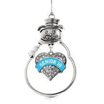 Inspired Silver Blue Senior 2018 Pave Heart Snowman Holiday Ornament - $14.69