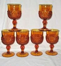 Vintage Indiana Glass Amber Diamond Pattern Goblets Set 6 - $37.93