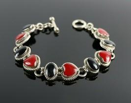 Vintage .925 Sterling Silver TAXCO TV-21 Jasper Onyx Heart Tennis Bracel... - $35.99