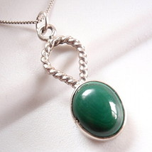 Malachite Oval Rope Style Accented .925 Sterling Silver Necklace - $21.11